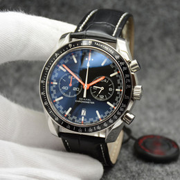 Leather Banded Ring Australia - 44MM Quartz Chronograph Date Mens Watches Round Dial Black Leather Band Orange Hands Fixed Bezel With A Top Ring Showing Tachymeter Markings