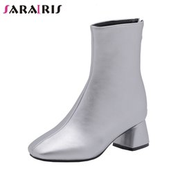 Discount elegant high heel fur boots - SARAIRIS New Elegant Square Toe Booties Ladies Plus Size 28-52 Winter Fur Ankle Boots Women 2019 High Heels Shoes Woman