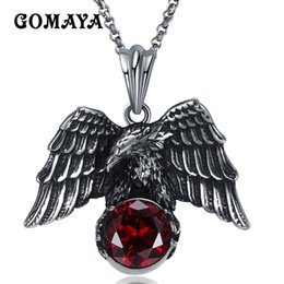 Wholesale GOMAYA Men NecklaceS Antique Silver Plated Animal Eagle Pendant Necklace Biker Jewellery Mens Fashion Party Animal Jewelry GMYN080