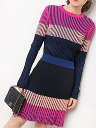 Wholesale a line skirts resale online - Miracle Europe and the United States sense of collision color concave convex Stripe trim sweater high waist A pendulum skirt