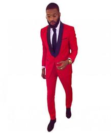 $enCountryForm.capitalKeyWord Australia - High Quality Red Men Wedding Tuxedos Excellent Groom Tuxedos With Black Shawl Lapel One Button Men Blazer 2 Piece Suit(Jacket+Pants+Tie)