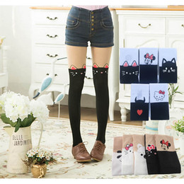 bbd90c73e82 Summer Children s Baby Kids Girls Thin hello kitty Tights Pantyhose Knee Fake  Tattoo Velvet Stocking white Cartoon 3-10Y