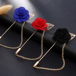 Male Fashion Suits Australia - New Fashion Male Suits Leaves Roses Flower Brooches Corsage Long Needle With Chain Handmade Lapel Brooch Pin Broche