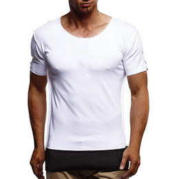 Cool T Shirts Men Australia - Oversize Stylish Men T Shirt Splicing Longline Curved Hem Slim T-shirt Men Cool Summer Tshirt Hip Hop Streetwear Tops