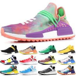 $enCountryForm.capitalKeyWord Australia - Pw Human Race Hu Trail X Men Running Shoes Pharrell Williams Nerd Black White Cream Tie Dye Sun Glow Womens Trainers Sports Sneakers