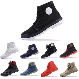 palladium shoes leather Canada - Free Shipping PALLADIUM Pallabrouse Men High Army Military Ankle mens women boots Canvas Sneakers Casual Man Anti-Slip Shoes 36-45