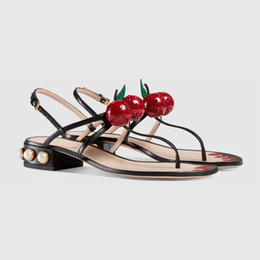 painting sandals Australia - Cheery Leather Thong Gladiator Sandals Women Glass Pearl Studded Heels Flip Flops Painted Nails Beach Slides Ankle Strap Flat Shoes
