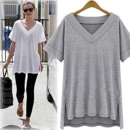 White Top Shirt Australia - Summer Cotton Oversize Irregular Women Tops Tee Sexy Loose Plain T Shirt Women Clothes White Black Plus Size Big 5xlah894 C19041001