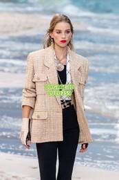 Tweed Suits Blazers Australia - Women's Tweed Beige&Ecru Blazer Tops With Pocket Silk Inside Coat Girls The Top Quality Tweed Short Sleeve Blazer Runway Female Coat Suits