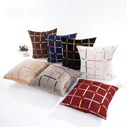 Wholesale black patterned cushion for sale - Group buy Sofa Cushion Cover Lattice Pattern Style Pillow Case Automobile Home Bed Black White Grey Pillowcase New Arrival zm L1
