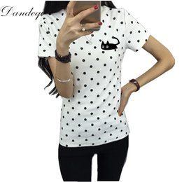 Girls Polka Dotted Shirt Australia - wholesale 2017 Summer Women's T-shirt Casual Clothes Girls Tops O-neck Polka Dotted Printed T-shirt For Lady Short Sleeves