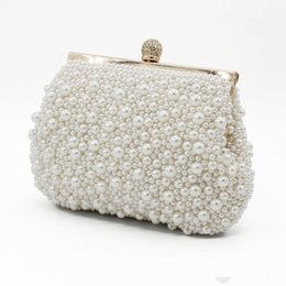 Wholesale Sweet Shell Pearls Crystal Beaded Ladies Bridal Wedding Hand Bags Evening Party One Shoulder Small Clutch Dinner Bags Accessories