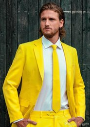 Wholesale grey tuxedo yellow tie resale online - Fashionable Groom Tuxedos yellow Groomsmen Notch Lapel Best Man Suit Wedding Men Suits Bridegroom Jacket Pants Tie A935