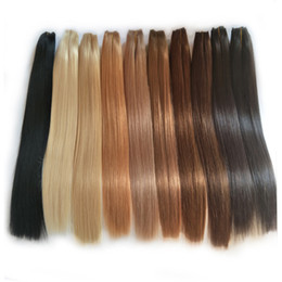 indian chocolate human hair UK - AliMagic Black Bronw Chocolate Blonde Human Hair weave Straight European Virgin Hair Russian Brazilian Hair Weave Bundles 18 20 22 24 26inch
