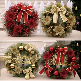 Ring Christmas Ornament Australia - 2018 new style Christmas flower rattan ring ornament door decoration Hotel restaurant artificial wreath door hanging