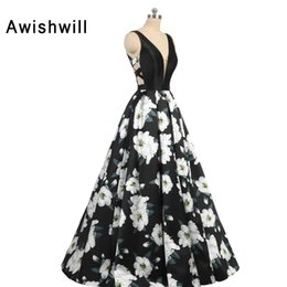 blue floral print evening gown Australia - 2019 New 3D Floral Flower Pattern Print Prom Dresses Robe de Soiree Sexy Deep V-neck Back Back A-line Formal Evening Party Gowns