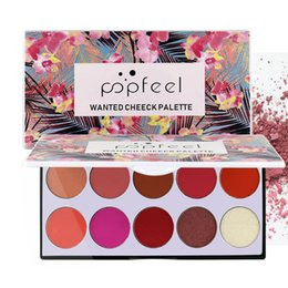 makeup palette blush Australia - POPFEEL Wanted Cheeck Palette 10 Color Blush Palette The Rouge Tray Brighten Orange Pink Naturally Delicate Gentle Blush Contour Makeup Set