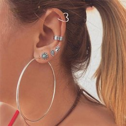 $enCountryForm.capitalKeyWord Australia - 7 Pcs Set Vintage Silver Turquoise Stud Earrings Circle Earrings Set Big Hoop Dangle Earring for Women Round Earring Fashion Jewelry