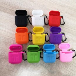 Retail package pouch online shopping - Silicone Case For Apple AirPods Protective Shockproof Silicone Case Pouch With Carabiner Retail Package For Earphone colors