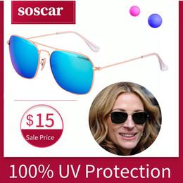 $enCountryForm.capitalKeyWord Australia - Soscar Caravan 3136 Sunglasses for Men Women Brand Designer Top Quality Sunglasses Metal Frame Flash Mirror Glass Lens Square Eyewear