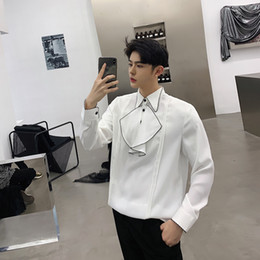 japan dresses sleeves NZ - 2019Spring New Fashion Pullover Chest Personality Split Joint Man Long Sleeve Shirt streetwear Best Thin Japan Style Color Black
