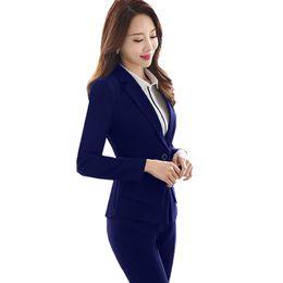 $enCountryForm.capitalKeyWord UK - 2019 Women's Business Suit Full Sleeve Notched Blazer Jacket +Long Pant 2 Pieces Trouser Suits for Women