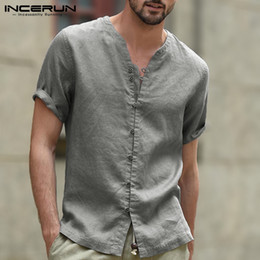 V Necks Shirts NZ - INCERUN 2019 Casual Brand Shirt Men V Neck Short Sleeve Button Cotton Solid Breathable Streetwear Fashion Men Shirt Camisa S-5XL