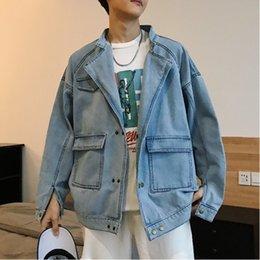 Cowboys Clothes Australia - Autumn New Denim Jacket Men Fashion Wash Casual Solid Color Bomber Jacket Man Streetwear Hip Hop Loose Male Cowboy Clothes