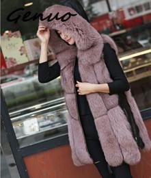 Wholesale leather fur trim coats for sale - Group buy Genuo Winter Women s fur Jacket Faux Fur Vest Coat Fashion Hooded Waistcoat Side Zipper stitching leather Warm Outwear