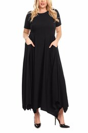 f38b1d626202 Amazing 2019 Alien Arrival Summer Women s Casual O-Neck Pockets Black Navy  Red Plus Size Jersey Handkerchief Hem Maxi Dress LGY61902