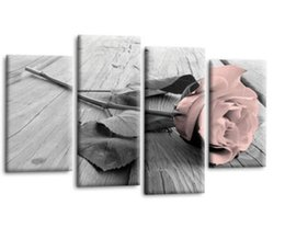Weave Oil Australia - Non-woven Wall Paste Home Decoration 4 Pairs of Vintage Rose Family Decoration Painting Living Room Painting Core Wholesale