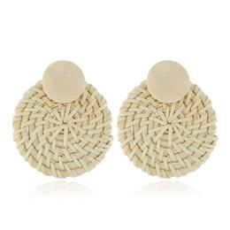 Rattan Round NZ - 2019 Statement rattan knit earrings drop for women hot round Boho wood straw braided female dangle earrings beach summer fashion
