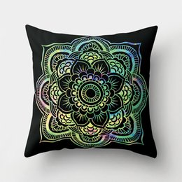 Decorative Throws For Beds UK - 45cm*45cm Cushion Cover Mandala Polyester Pillowcase Throw Pillow Cover for Sofa Bed Car Home Decorative almofada funda cojin