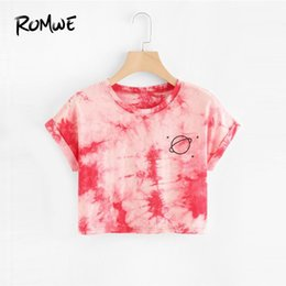 $enCountryForm.capitalKeyWord Australia - Romwe Water Color Cuffed Tee Short Sleeve Tie Dye Round Neck T-shirt 2019 New Design Summer Women Top Y19051301