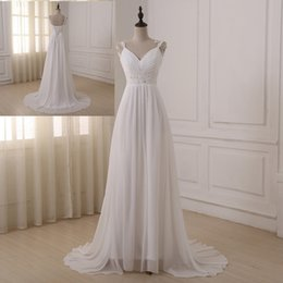 $enCountryForm.capitalKeyWord Australia - 2019 Cheap White Chiffon A Line Wedding Dresses Sexy V Neck Spaghetti Bride Dresses Sweep Train Beads Sashes Lace Up Beach Wedding Gowns