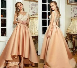 Wholesale 2019 Vintage Champagne Satin Evening Dress V Neck Appliques Formal Holiday Wear Prom Party Gown Custom Made Plus Size