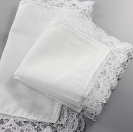 handkerchief Australia - White Lace Thin Handkerchief Woman Wedding Gifts Party Decoration Cloth Napkins Plain Blank DIY Handkerchief 25*25cm