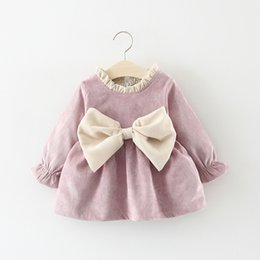 Pink Baby Tutu Australia - 2019 Spring Autumn Long Sleeved Baby Infants Girls Kids Dresses Bow Ruffles Princess Tutu Pleated Dress Vestidos S7353 J190528