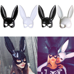 $enCountryForm.capitalKeyWord Australia - Cute Bunny Mask Halloween Masquerade Dress Up Mask Hot Sale Long Rabbit Ear Masks Black White Upper Half Face Ball Party Masks