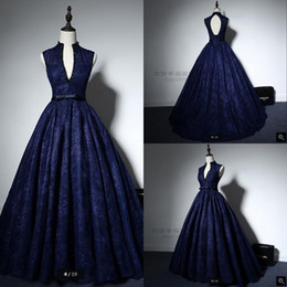 $enCountryForm.capitalKeyWord NZ - 2019 Real picture ball gown navy blue lace high neck prom dress princess beading sheer back sexy sashes elegant prom gowns hot sale