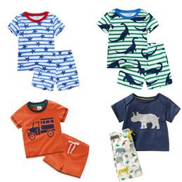 Boys BaBy light Blue suit online shopping - Kids Short Sleeve Suit Kids Designer Clothes Boys Girls Baby Print Suit Cotton Cartoon Shorts Two Piece