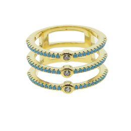 Copper Full Finger Rings Australia - three line cz eternity band gold color pave blue turquoises stone fashion women full finger ring