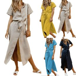$enCountryForm.capitalKeyWord Australia - Spot Women's Dresses Euro-American Nailing Received Belt-strap Cotton Dresses with Open Crotch Short Sleeve Pure-color Dresses in Stock