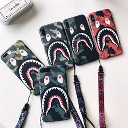 shark phone NZ - Camouflage Shark Mouth For iPhone xr X Case Frosted Couple 6s 7 8 Cell Phone Case with Strap high quality 2019new