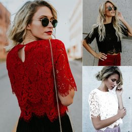 Wholesale floral tops for ladies for sale – plus size Blouses For Women Ladies Tops Women Fashion Loose Short Sleeve Tops Lace Floral Short Sleeves Blouse Shirt Casual Lace Tops Shirt