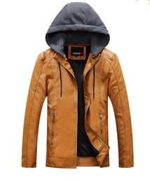 Mens Parka Leather Australia - Mens PU Faux Leather Winter Coat Casual Jacket Solid Color Male Thick Windbreaker Polyester Parkas Designer Outerwear