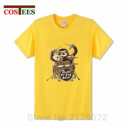 Cute Animal Tees Australia - Parody sloth playing drums T shirt men Funny Follow my own beat T-shirt Cute Sloth shirt Cartoon animal print Tee camiseta