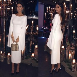 Wholesale Long Sleeve Sheath Evening Cocktail Party Dress Turkish Arabic Dubai White Prom Gowns Kaftan Robe De Soiree
