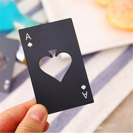 $enCountryForm.capitalKeyWord NZ - Poker Card Beer Bottle Opener Stainless Steel Wedding Party Banquet Gift Souvenirs Kitchen Dining Bar Tools Table Decor Favors Black DHL