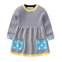9efde256c8eb Girls Sweater Clothing dress 0-5T Kids Baby knit clothes girl soft Autumn  and winter quality100% cotton Extended stripe sweater